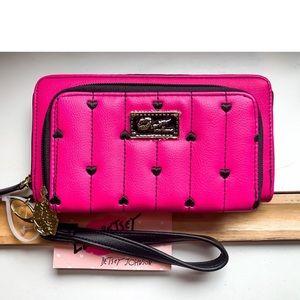 Betsey Johnson Hot Pink Zip Around Wallet